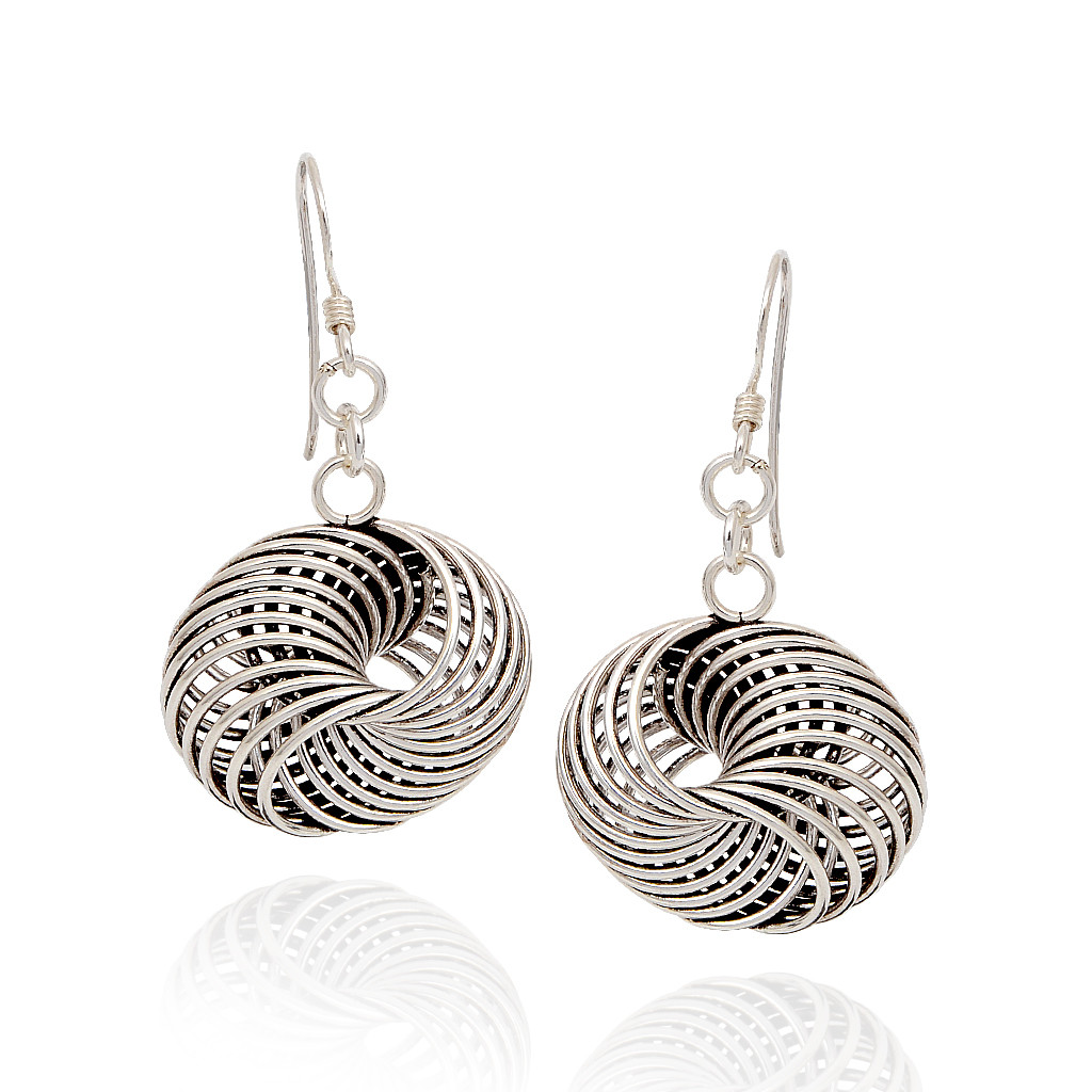 925 Spring Role Silver Earrings
