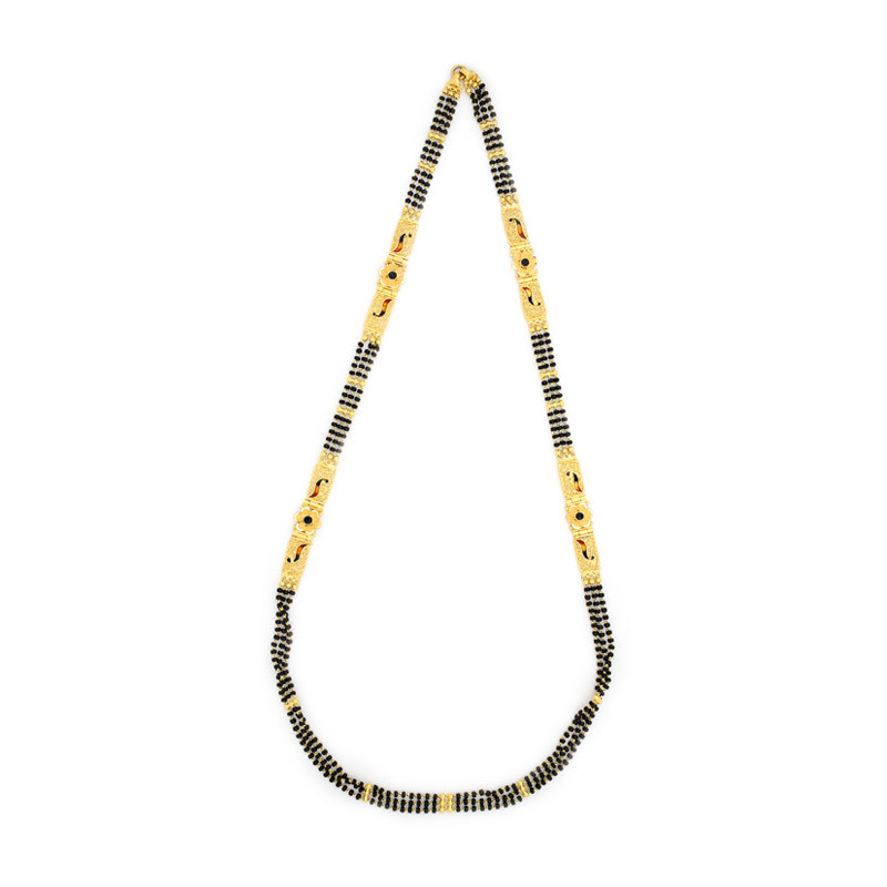 Three Strand Black Beads Chain with Enamel Mugappu