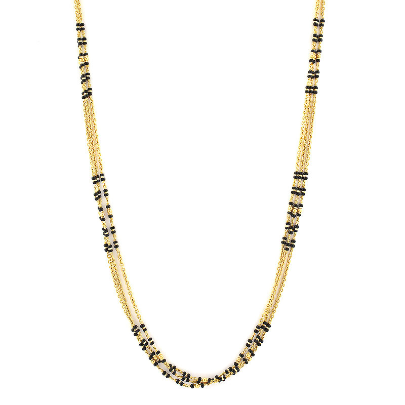 Three Strand Black Beads Chain