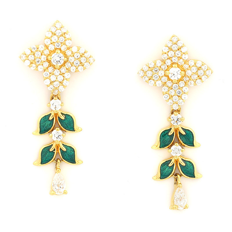 Earrings Featuring Four-Petal Flower and Green Leaves