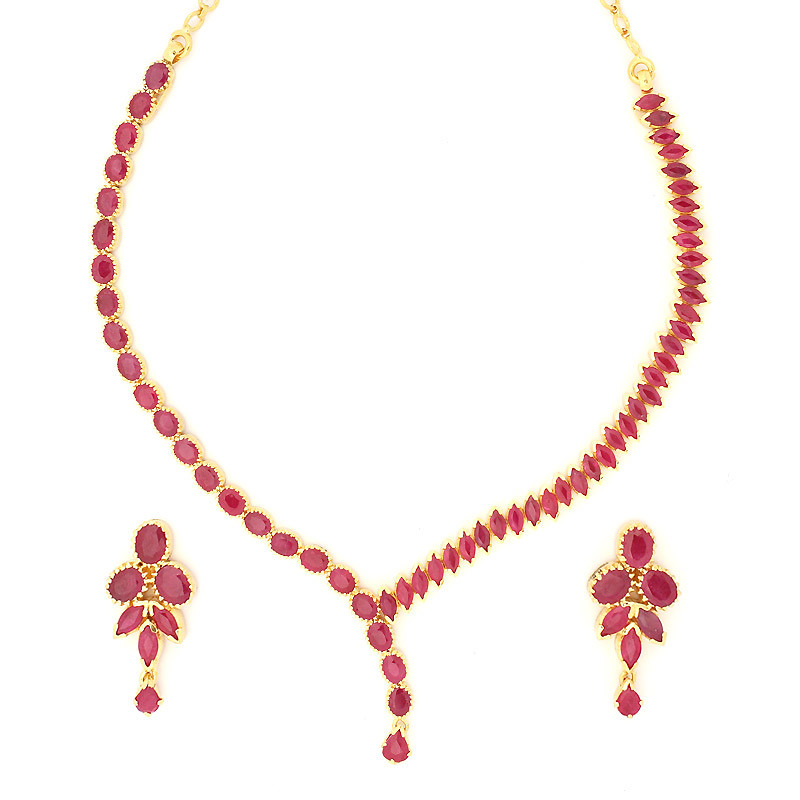 Oval and Marquise Shaped Rubies Flanking Necklace Set