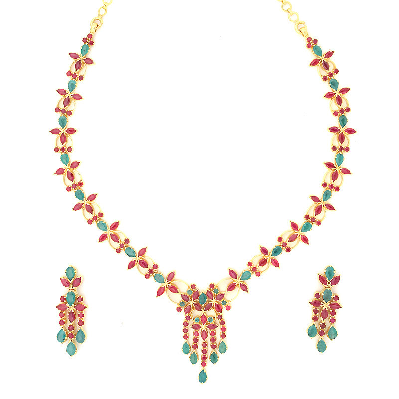 Traditional Indian Ruby & Emerald Necklace Set