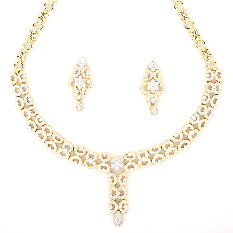 Diamond Necklace set with Pear shape Drop