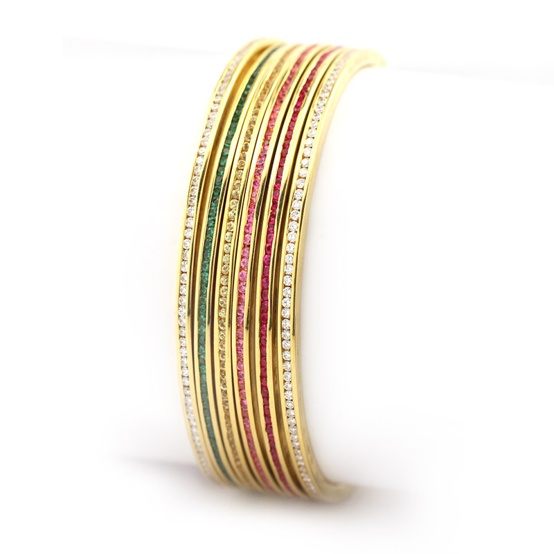Channel Set Diamond Bangles with Ruby, Emerald & Yellow Sapphire Bangles