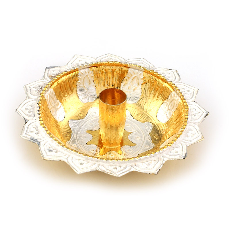 Gold Polished Silver Floating Lotus Diya