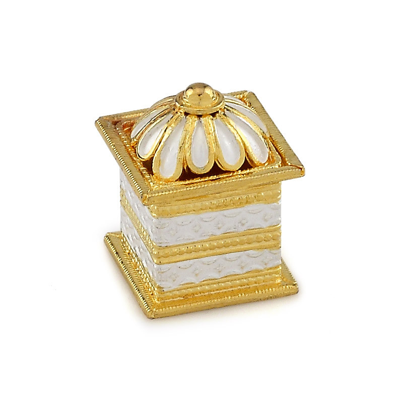 Gold Polished Designer Silver Kumkum Box