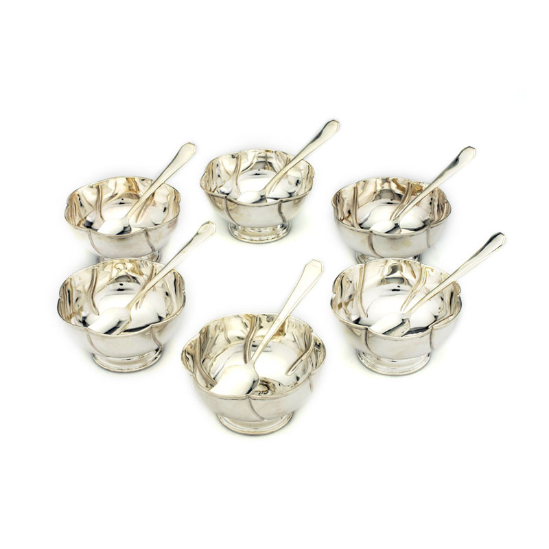 Silver Ice Cream Bowl Set with Tray