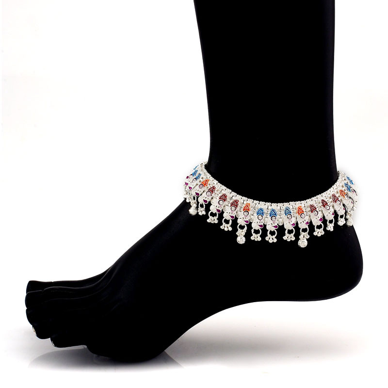 Fancy Painted Silver Anklet