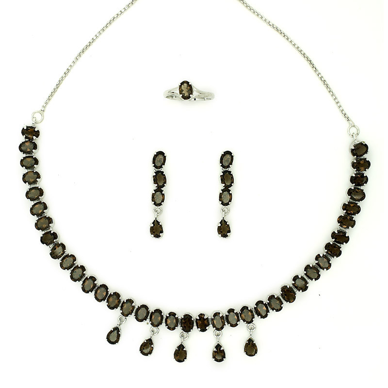 Oval shaped Gemstones Studded Silver Necklace,Earring and Ring Set