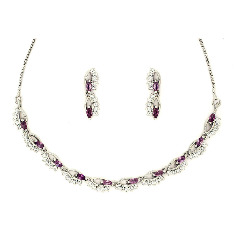 Amethyst eye Necklace Set