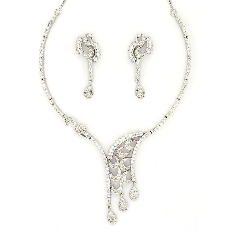Designer Silver Necklace with Earring