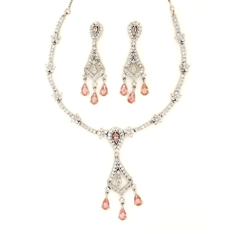 Silver Chandelier Necklace Set with Three Pear Drop