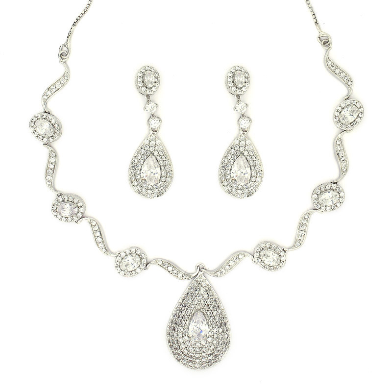 Dew Drop Silver Necklaces with Earring
