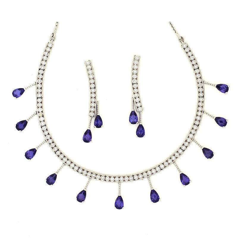 Deep Blue Swarovski Crystal Pear Drop Necklace Set
