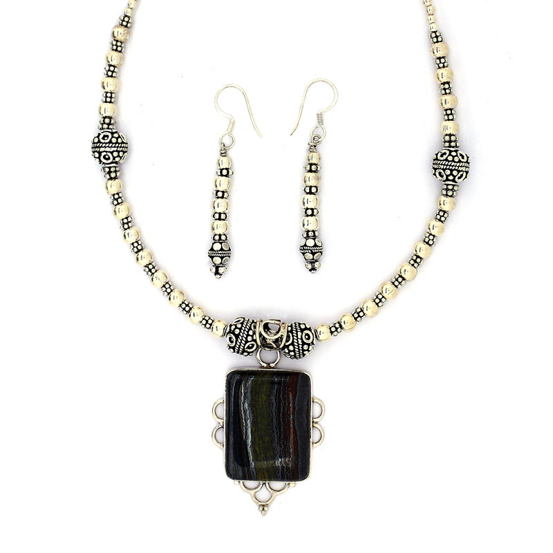 Mogalia Black Square Necklace with Earrings