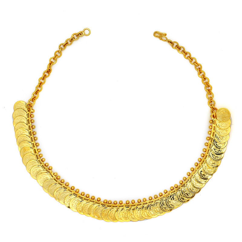 Gold Polished Silver Kasu Malai Necklace