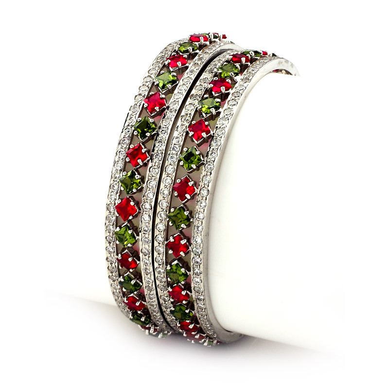Fancy Stone Studded Silver Bangles