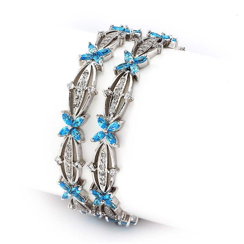 Silver Bangles with Baby Blue Flowers