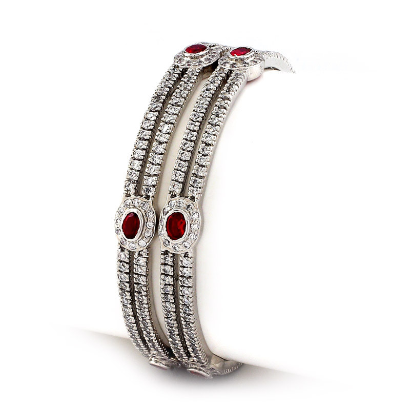 Silver Bangles with center Red Gemstone