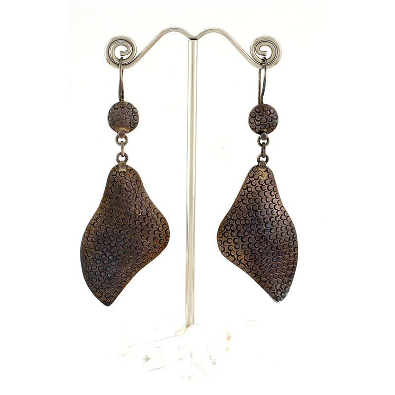 Antique Finish Copper Tone Leaf Hook Earrings