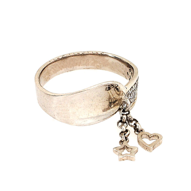 Raw Silver Finish Ring with Charms