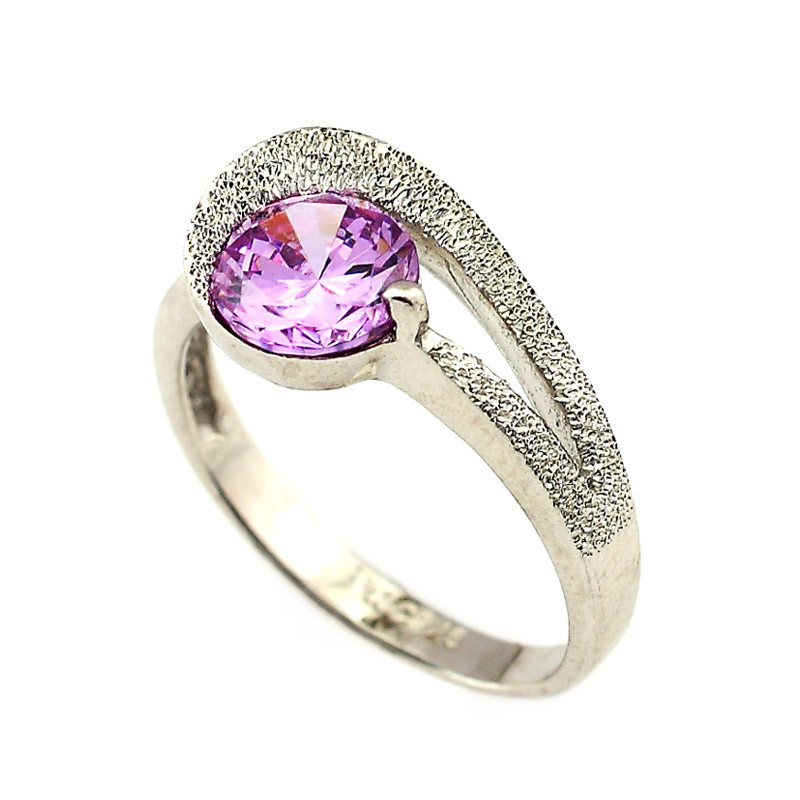 Pink Center Stone Silver Ring