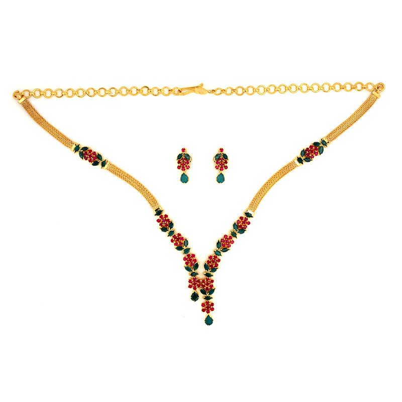 Traditional Six  petal flower & Leaf Necklace Set