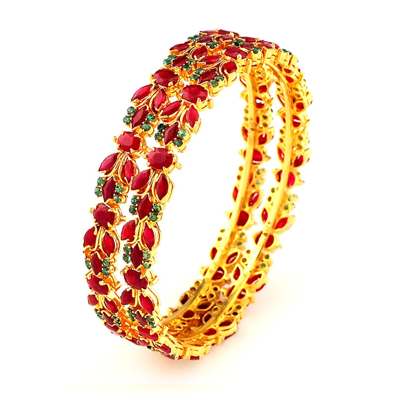 Traditionally Handmade Ruby & Emerald Bangles