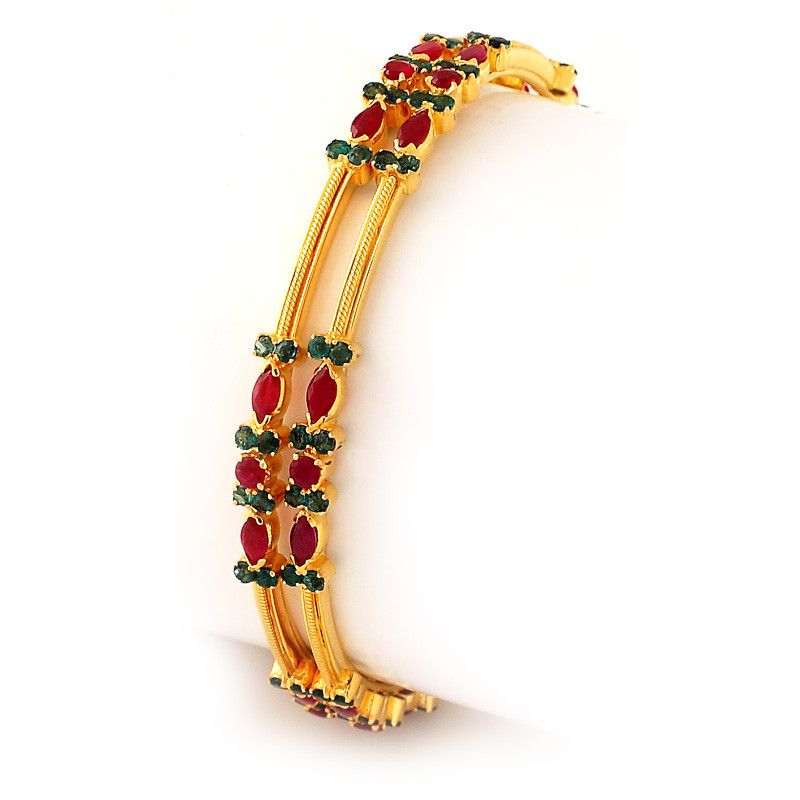 Fire and Earth Ruby & Emerald Bangles