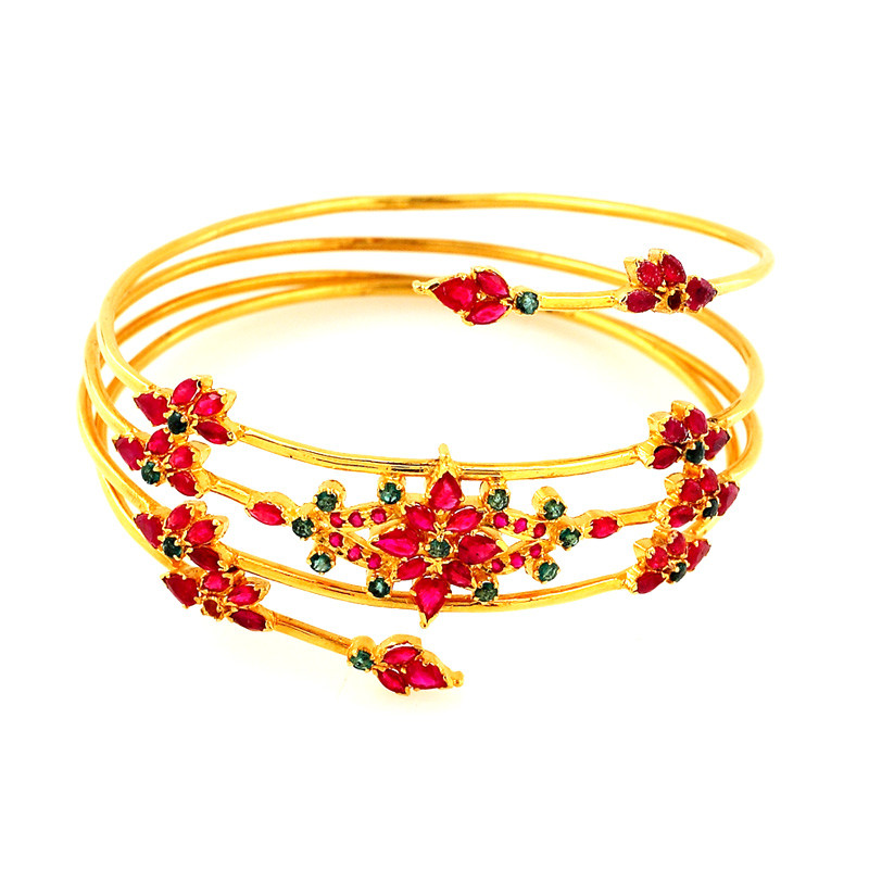 Ruby & Emerald Spring Bangle