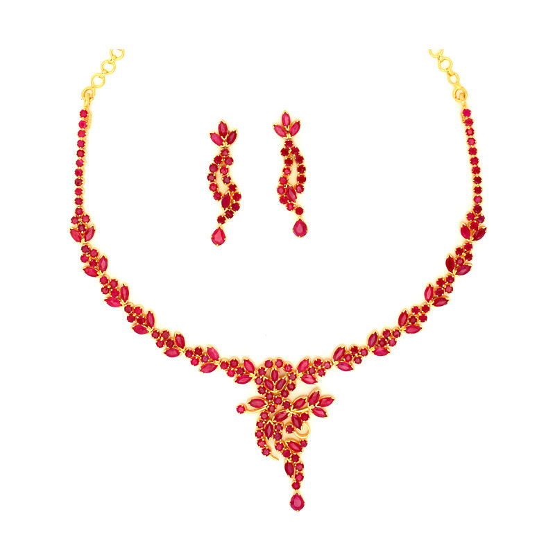 Zamibian Rubies Studded Designer Ruby Necklace Set