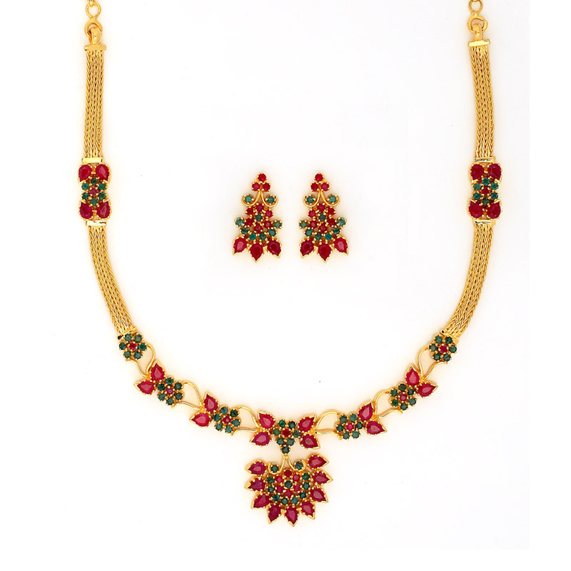 Ruby Traditional Ruby And Emerald Necklace Set Grt