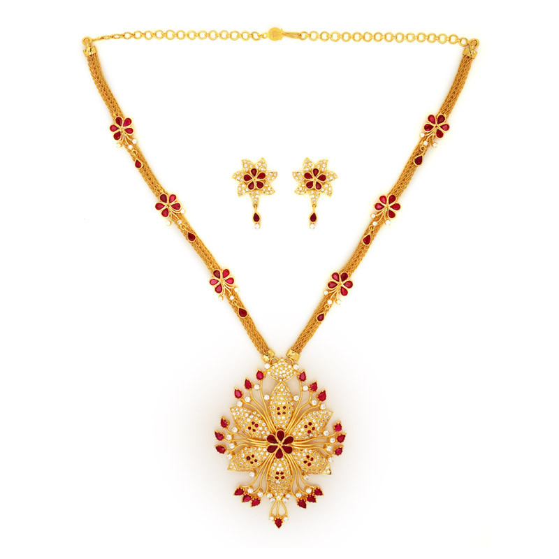 Delicate gold flower with cubic zircon ,Ruby Necklace set