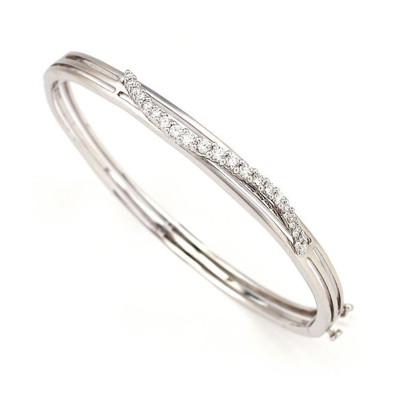 Diamonds Studded Platinum Bangle Bracelet