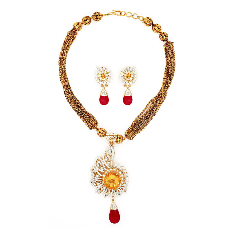 Vintage Style Diamond Pendant Set with African Red ruby Pear Drop