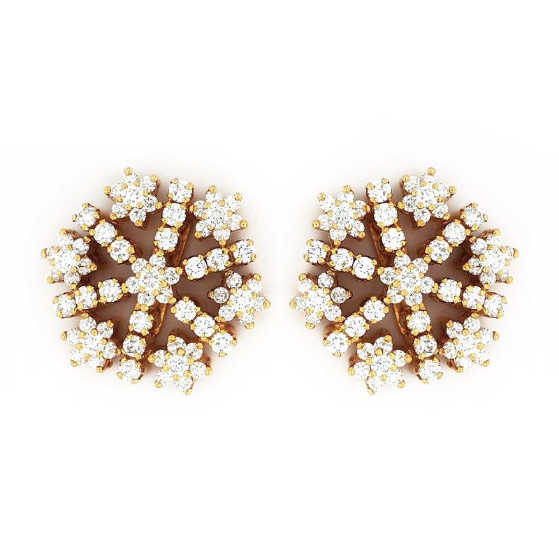 Ice Crystals Shape Diamond Earrings