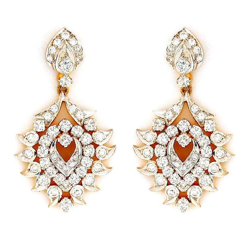 Rhodium Polished Diamond Chandelier Earrings