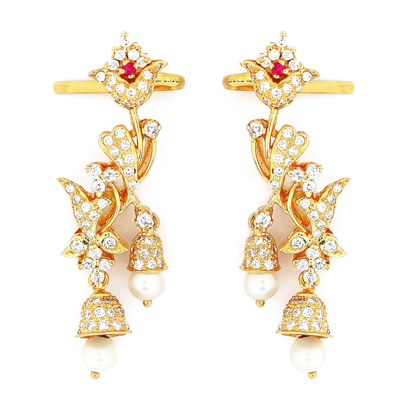 Bell Flower Design Diamond Earrings
