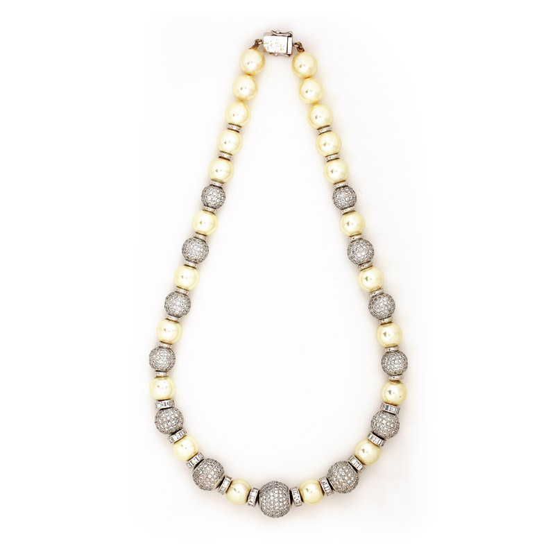 Freshwater Pearl and Filigree Diamond Globe Necklace