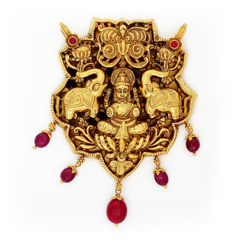 Traditional South Indian Nagas Work Gajalakshmi Pendant with Ruby Beads
