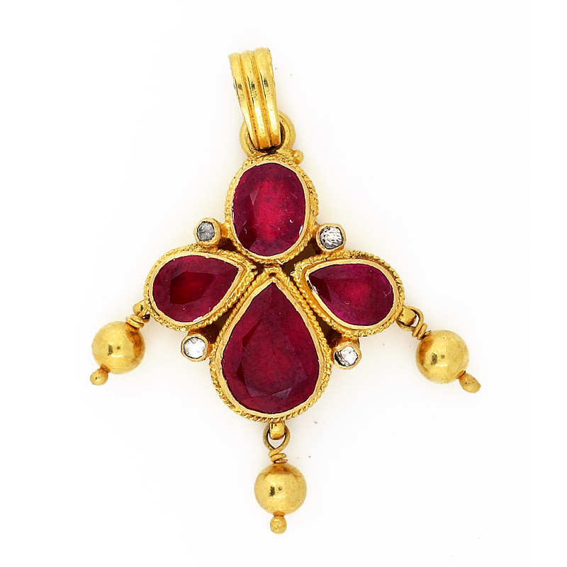 Pear Shaped Australian Red Rubies Studded Pendant