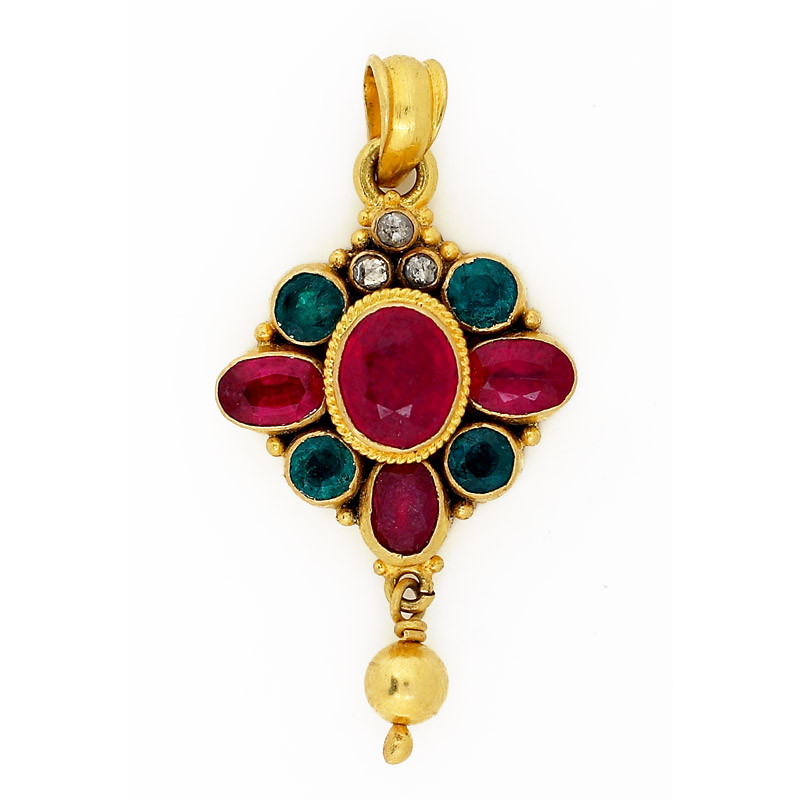 Antique Ruby & Emerald Pendant