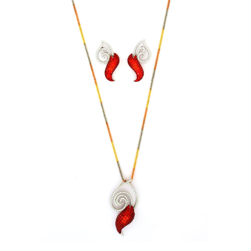 Rainbow Colors Chain with Pigeon Blood Red Rubies Studded Diamond pendant set