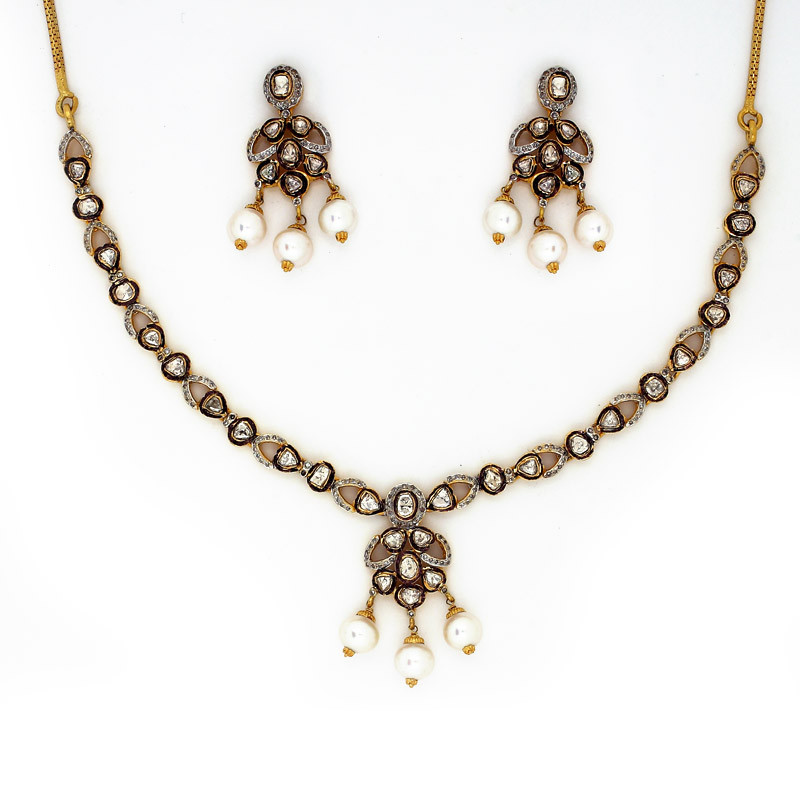 Polki Diamond Necklace Set with Pearl Drop