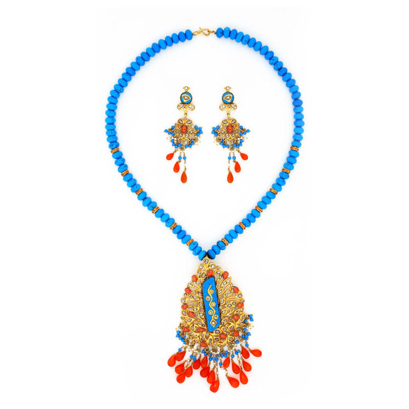 Zuni Indian Turquoise Neck set with Red Teardrop