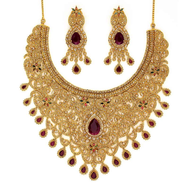 Polki Diamond Bridal Necklace Set with Pear Shaped Ruby Drop