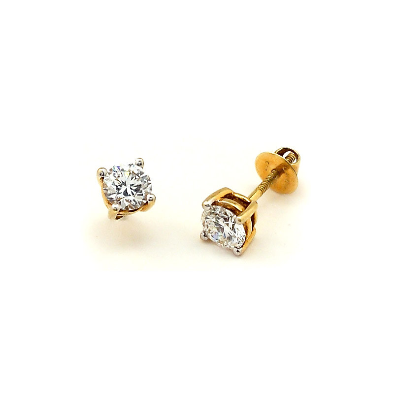 Round Brilliant Four Claw Diamond Ear stud