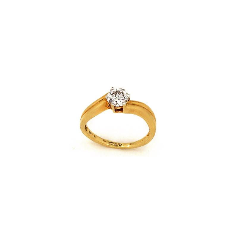Crossover Solitaire Diamond Engagement Ring