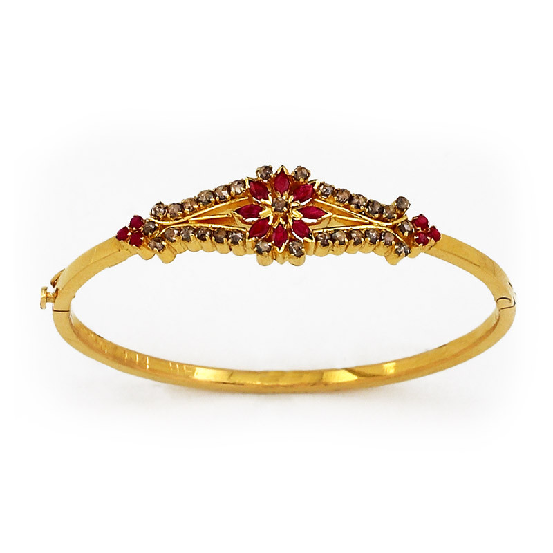Rubies and Indian Rose Cut Diamonds Studded Bangle