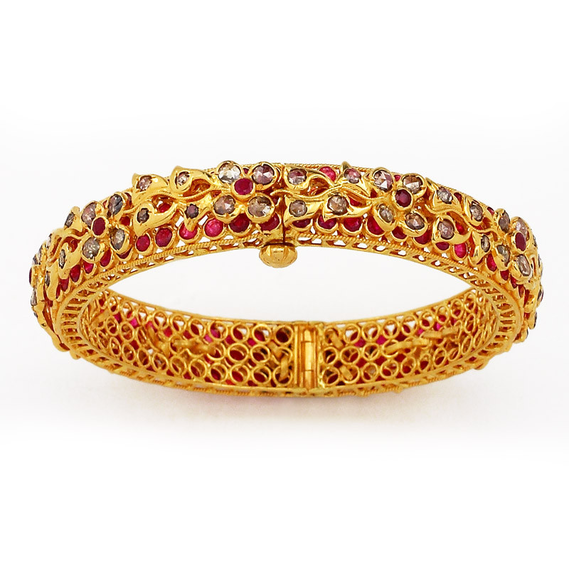 Uncut Diamond and Rubies Studded Bangle